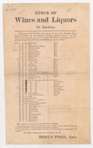 Stock of wines and liquors at auction. ca. 1855. Duke University. [3]