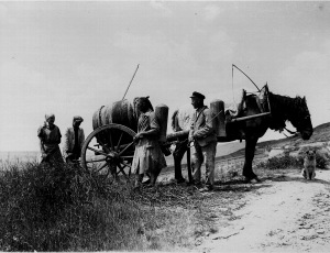 Work in the vineyard - The vitriol is filled in the cans and air pumped (protection against pests). 1925. [1]