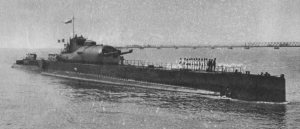 The French submarine Surcouf. c. 1936. Wikimedia.