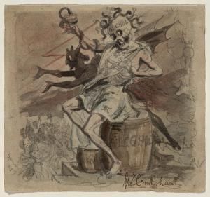 Alcohol, Death, and the Devil. Cruikshank, George. 1830-18490. [1]