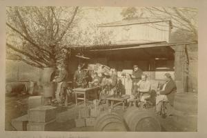 Buena Vista Vineyard, Sonoma, Disgorging the Sediment and Re-corking Sparkling Wines. Muggeridge, Edward James. ca. 1867-1880.  Sun SITE. The Library, University of California, Berkeley.