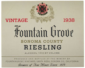 1938 Fountain Grove, Riesling label. Yale University Library. [0]
