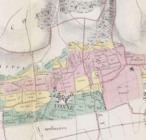 Close up of Vosne from Plan des Vignobles produisant Les Grands Vins de Bourgogne. 1861. [1]