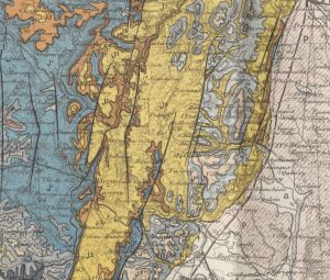 Close up between Beaune and Dijon from Carte Geologique de la Cote-D'Or. [1]