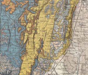 Close up between Beaune and Dijon from Carte Geologique de la Cote-D'Or. [1]