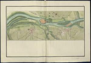 """Portion de route à partir du pont aux """"Moines"""", entre """"Barsac"""" et """"Preignac"""", en passant par """"Martin"""" et """"Garingue"""". Atlas de Troudaine. [2]"""