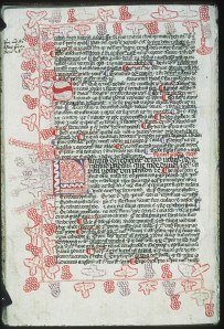 A 15th century manuscript decorated with grapevines and clusters. [1]