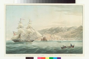 The Island of Madeira with the Brig Comet Thomas Ormston Master entering the Bay of Funchal. 1831. Copyright National Maritime Museum, London.