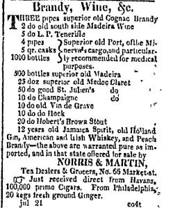 "Advertisement for ""old south side Madeira Wine"". Date: Monday, July 24, 1815  Paper: Baltimore Patriot (Baltimore, MD)   Volume: VI   Issue: 798   Page: 3."