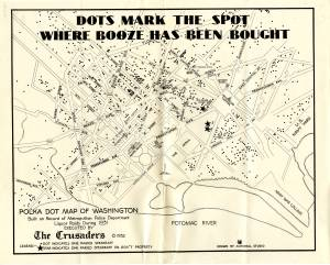 """Dots Mark the Spot Where Booze has been Bought."" 1932. [1]"