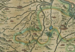 Detail showing Vacqueyras and Gigondas from Carte chorographique du Comte d'Avignon et de la principaute d'Orenge.Hamersveldt, Everard Symonsz. 1620.    Bibliothèque nationale de France.