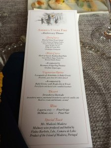 Dinner menu for America Under Fire.