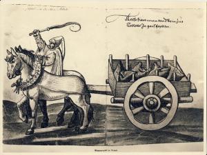 Así se transportan en pellejos de cabra el vino de Toledo. Image from Das Trachtenbuch (1529). [1]