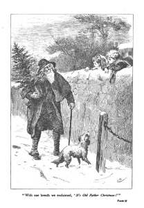 """With one breath we exclaimed, 'It's Old Father Christmas!'"". Image from Snap-Dragons. 1888. [1]"