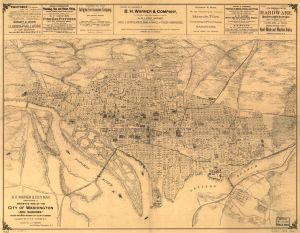 B.H. Warner & Co.'s Map showing a bird's-eye view of the city of Washington and suburbs. 1886. Library of Congress Geography and Map Division. URL: http://www.loc.gov/item/87693417/