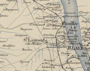 The location of Ch. Longueville from the Carte routière et vinicole de la Gironde. [1]