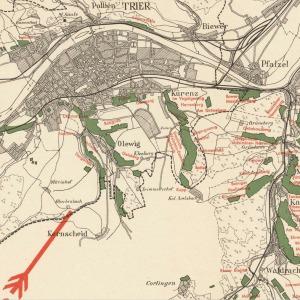 Detail showing Avelsbach Vineyard from Mosel-Weinbaukarte für den Regierungsbezirk Trier. c. 1930. [1]