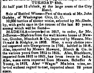 A selection of Madeira from the 1839 auction of John Gadsby's cellar. [2]