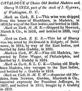A selection of the wines advertised in 1844 from John Gadsby's cellar.  [8]