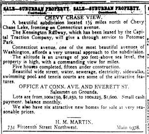 Chevy Chase View advertisement by H. M. Martin. May 20, 1923. The Evening Star.