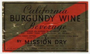 California Burgundy Wine Beverage Label. 1933. [1]