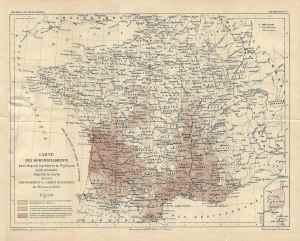 Carte au 26 janvier1882 de l'avancée du Phylloxéra en France [1]