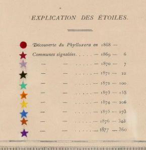 Close up of legend from Carte de la marche... du phylloxera dans le département de la Gironde / faite par A.-H. Trimoulet. 1878. [1]
