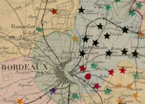 Close up of the map from Carte de la marche... du phylloxera dans le département de la Gironde / faite par A.-H. Trimoulet. 1878. [1]