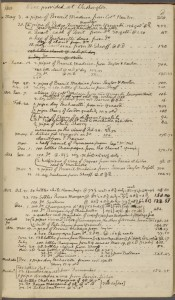 """Wine provided at Washington"" page 1, from Thomas Jefferson account book, 1791-1803.  Held at the NYPL Digital Collections."
