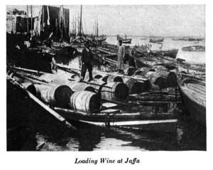 Loading wine at Jaffa. c 1917. [1]