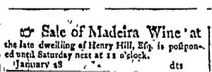 Advertisement. Date: Wednesday, January 30, 1799 Paper: Claypoole's American Daily Advertiser (Philadelphia, Pennsylvania) Issue: 6905 Page: 2