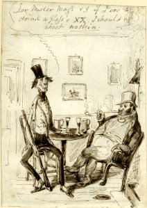 "Two men drinking from Henry Heath ""Sporting Alphabet"" 1840. [1]"
