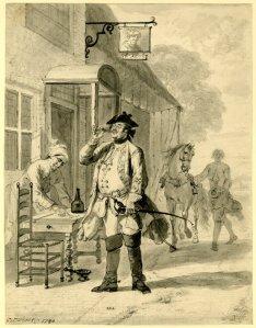 "A Dutch officer drinking wine outside the inn ""De Shrok"". 1740. [1]"