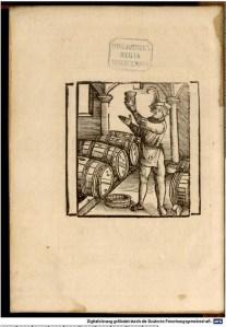 """Image from Arnoldus de Villa Nova """"Diser Tractat helt yn von bereytung der wein, zu gesundtheit und nützbarkeit der menschen"""". 1522. [1]"""