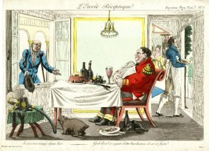 Satire of the English in a French restaurant. 1815. [2]