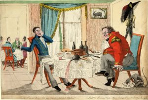 Satire on the English in French restaurants. 1814-1815. [1]