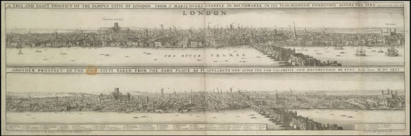 Wenceslaus Hollar's Great Fire of London. Engraved By W. Hollar, c. 1666-1669. From the British Library. Shelfmark: Maps K. Top. 21.36.a