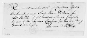 Receipt for Madeira purchase. Thomas Mifflin to Caleb Gibbs, October 18, 1776. [1]