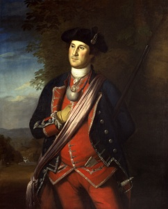 Colonel George Washington of the Virginia Regiment. Charles Wilson Peale. 1772. Wikipedia.
