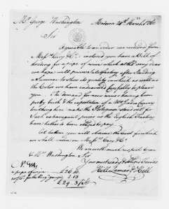 Bill for George Washington's first pipe of Madeira from Lamar, Hill, & Lamar. March 28, 1760. LOC.