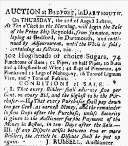 Madeira wine was amongst the cargo auction off of the prize ship Reynolds. August 06, 1776.