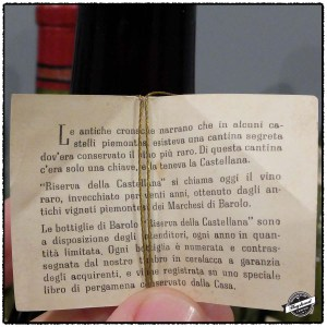 Inside of the tag for the 1947 Marchesi di Barolo, Reserva Della Castellana, Barolo