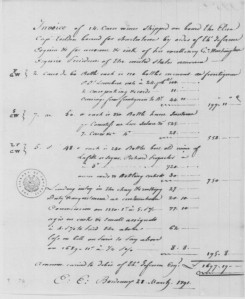 "Note the ""L F G W"" on the Invoice from Fenwick, Mason & Co to George Washington. March 28, 1791. LOC."
