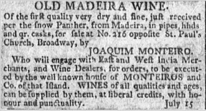 Advertisement for Monteiro Madeira from 1796.