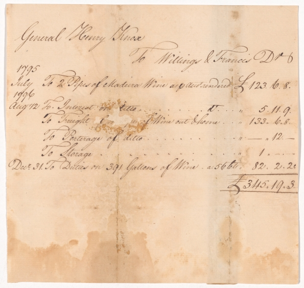 Invoice to General Henry Knox for Madeira wine from Willing & Francis. Dec 31, 1796. NYPL.